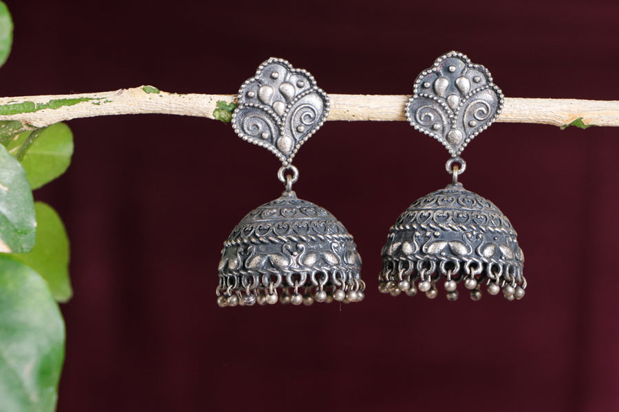 Antique Silver Finish Oxidized Special Brass Base Jhumki