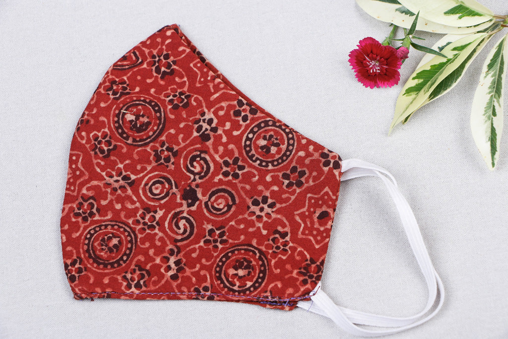 Ajrakh Print Cotton Fabric SSMMS Filter 3 Layer Snug Fit Face Cover