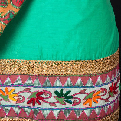 Traditional Phulkari Embroidered Cotton Gota Patti 3pc Suit Material Set with Silk Cotton Dupatta