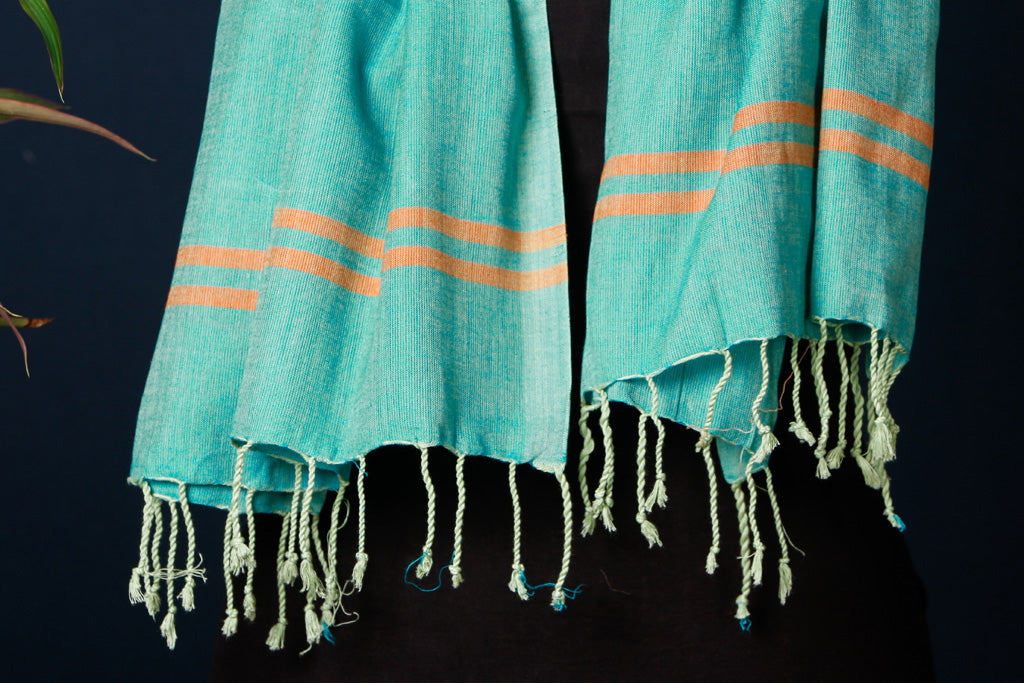 Mangalgiri Cotton Handloom Stole with Tassels by DAMA