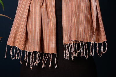 Mangalgiri Cotton Twill Weave Natural Dyed Handloom Stole with Tassels by DAMA