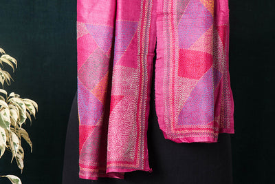 Special Sujani Hand Embroidery Handloom Pure Tussar Silk Stole