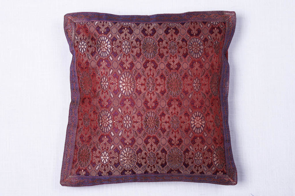Traditional Pure Banarasi Handwoven Silk Zari Cushion Cover (30 x 30 cm)