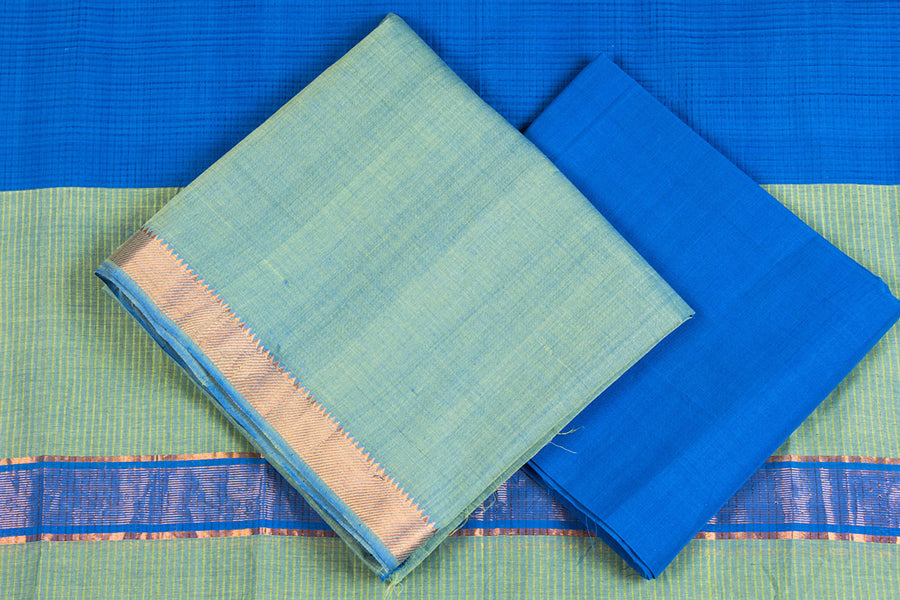 Original Mangalgiri Handloom Cotton 3pc Suit Material with Zari Border