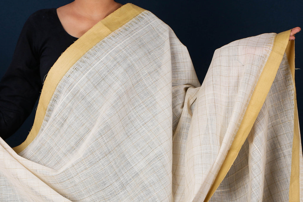 Mangalgiri Cotton Kuppadam Border Natural Dyed Handloom Dupatta with Tassels by DAMA