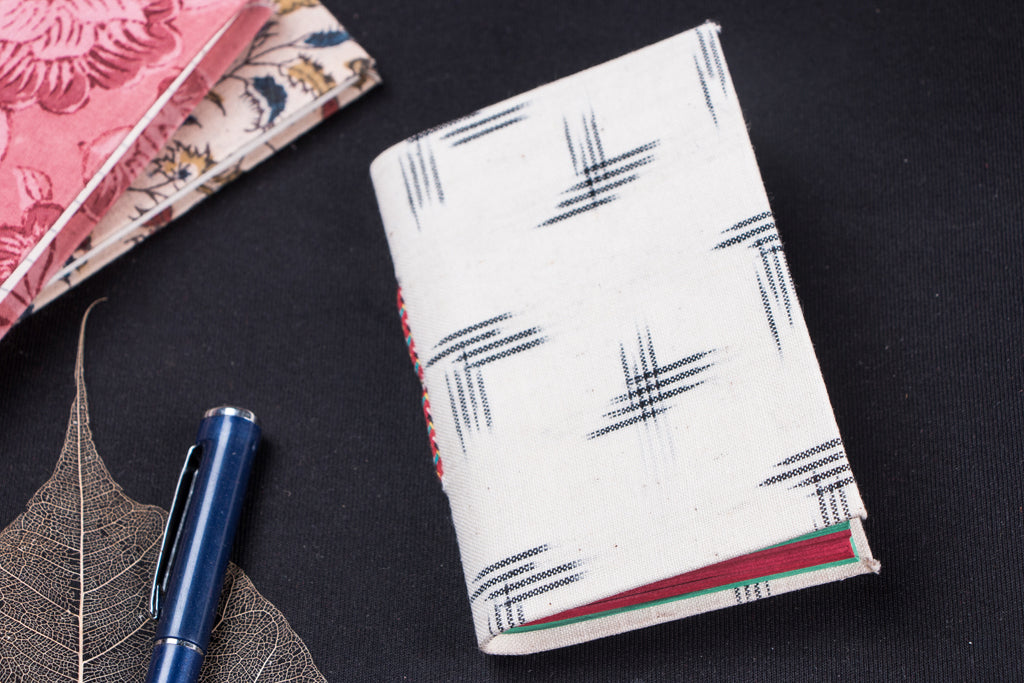 Ikat Fabric Cover Handmade Paper Notebook (13 x 9 cm)