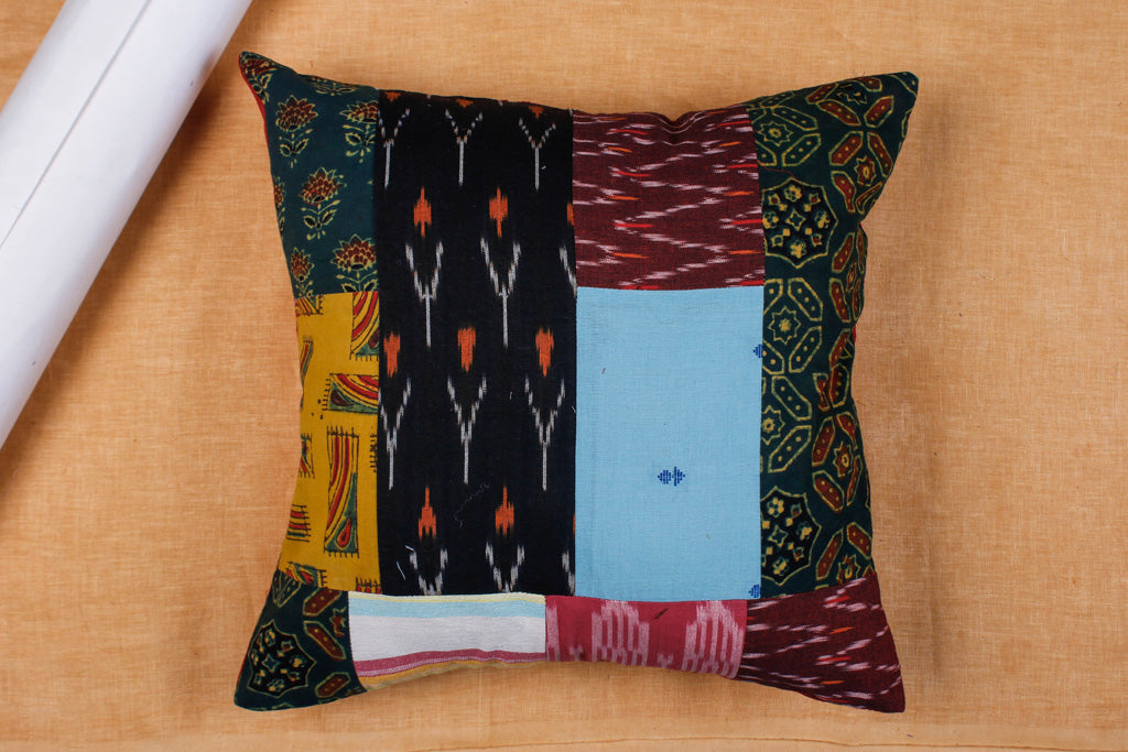 Patchwork Cotton Cushion Cover by Haveli Chronicles (16 x 16 in)