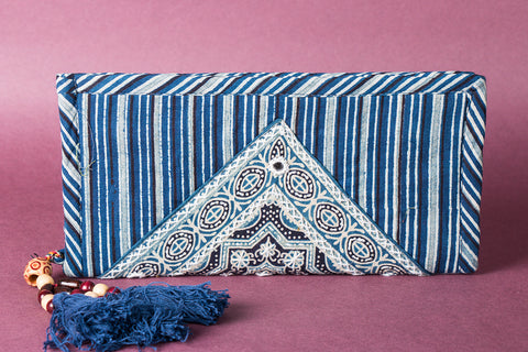 Ajrakh Handblock Printed Kantha Work Clutch Wallet with Tassels