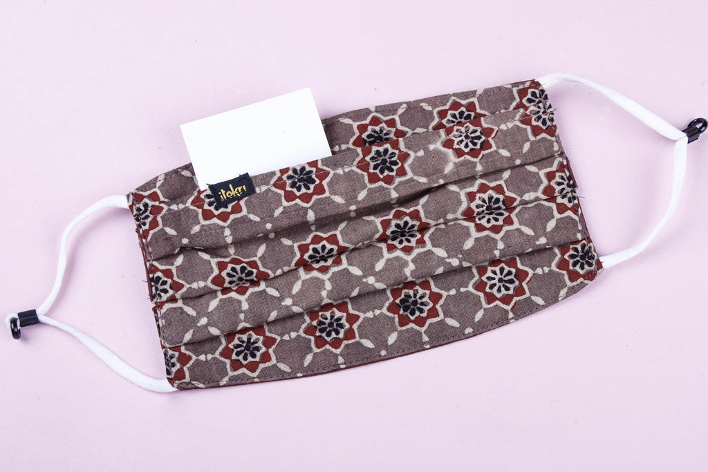 Ajrakh Print Cotton Fabric 3 Layer Pleated Face Cover with Filter Pocket