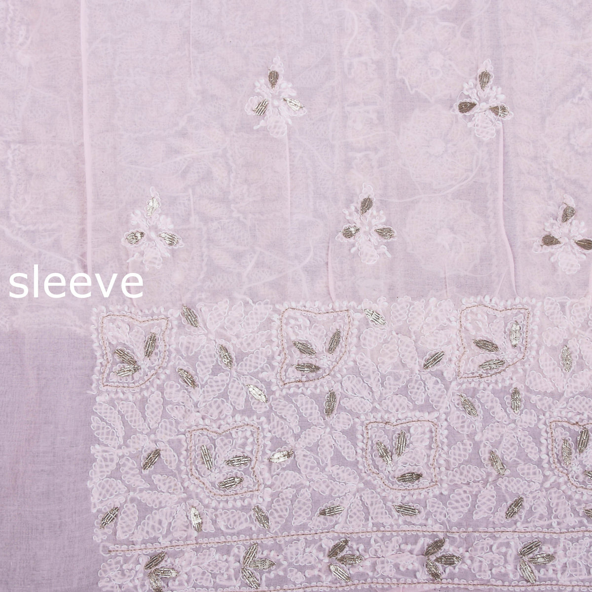 Chikankari Hand Embroidered Gota Patti 3pc Cotton Suit Material