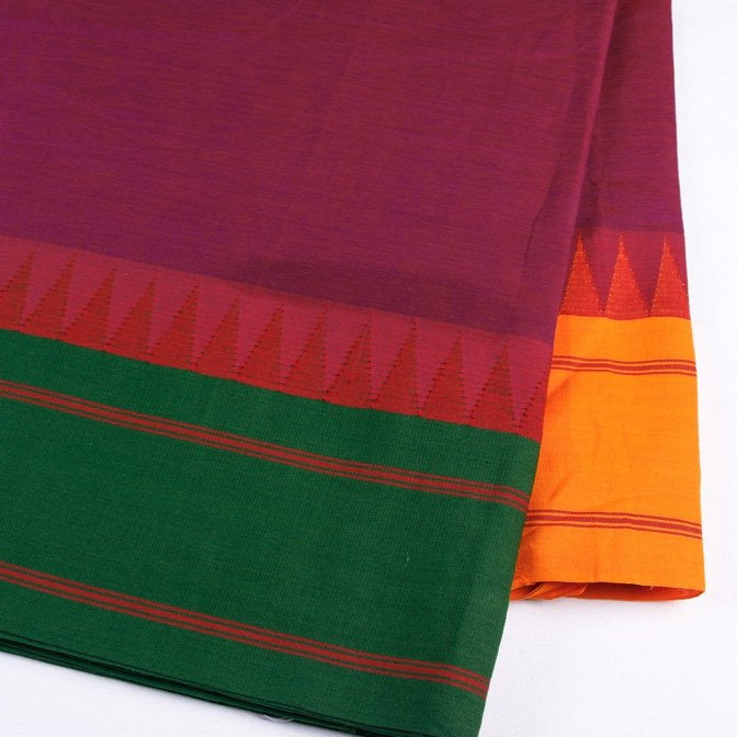 Kanchipuram Cotton Fabric with Two Different Colour Thread Borders