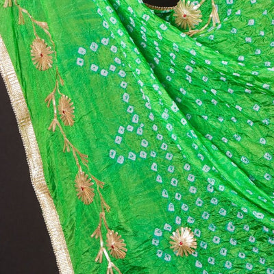 Jaipur Printed Bandhej Art Silk Dupatta with Gota Patti