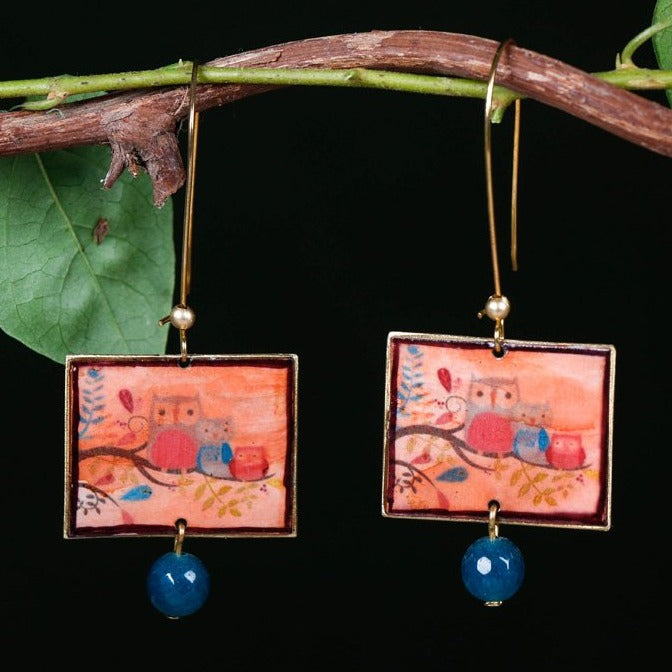 Handcrafted Designer Print Fusion Brass Earrings by Bindurekha