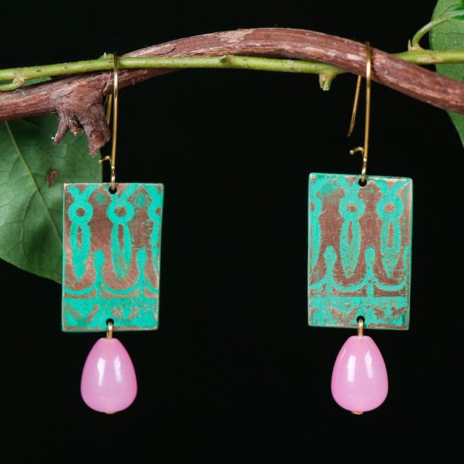 Handcrafted Designer Etched Copper Earrings by Bindurekha