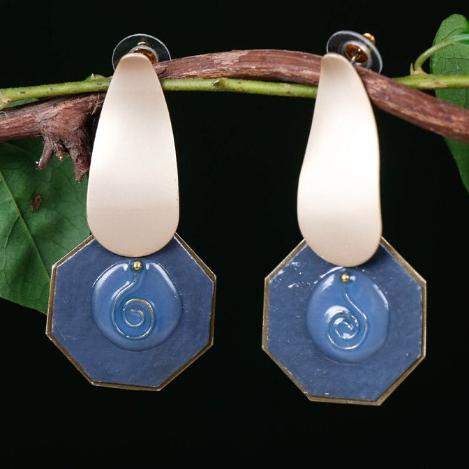 Handcrafted Designer Enameled Brass Earrings by Bindurekha