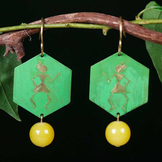 Handcrafted Designer Etched Brass Earrings by Bindurekha