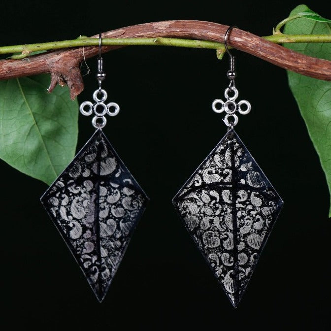 Handcrafted Designer Etched GS Earrings by Bindurekha