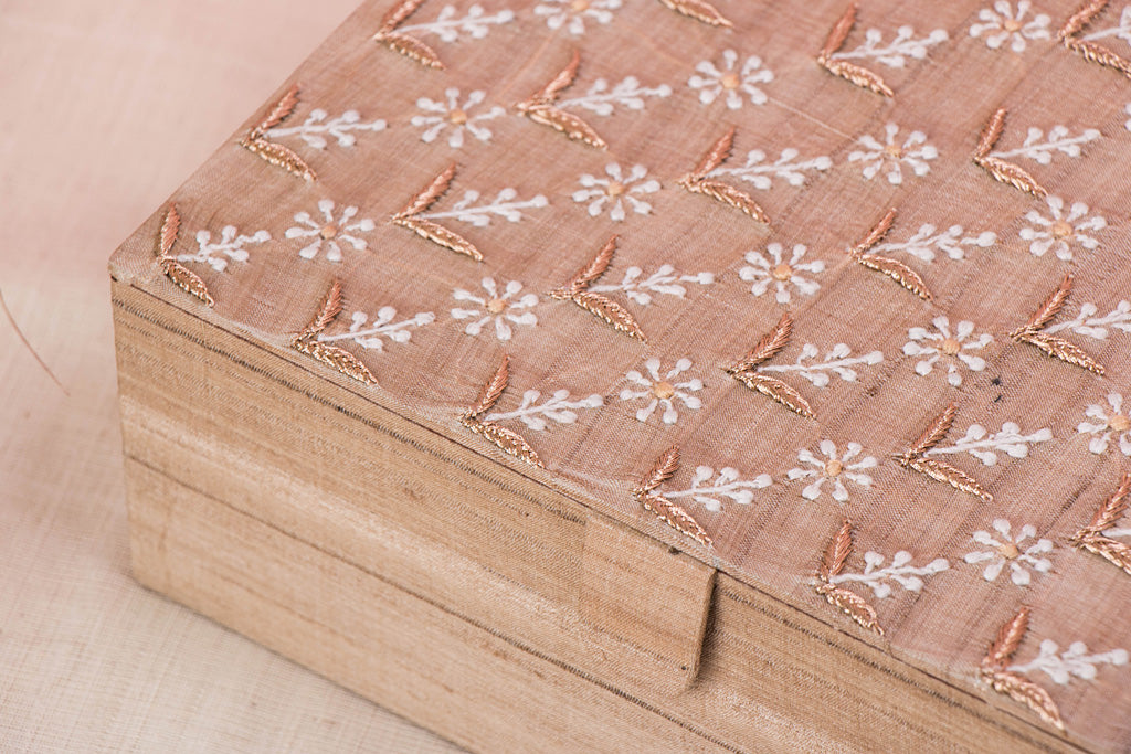 Lucknow Chikankari Hand Embroidered Tussar Silk Multipurpose Box for Cosmetics & Jewelry