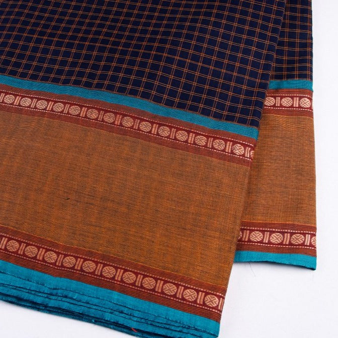 Kanchipuram Checks Cotton Fabric with Thread Border