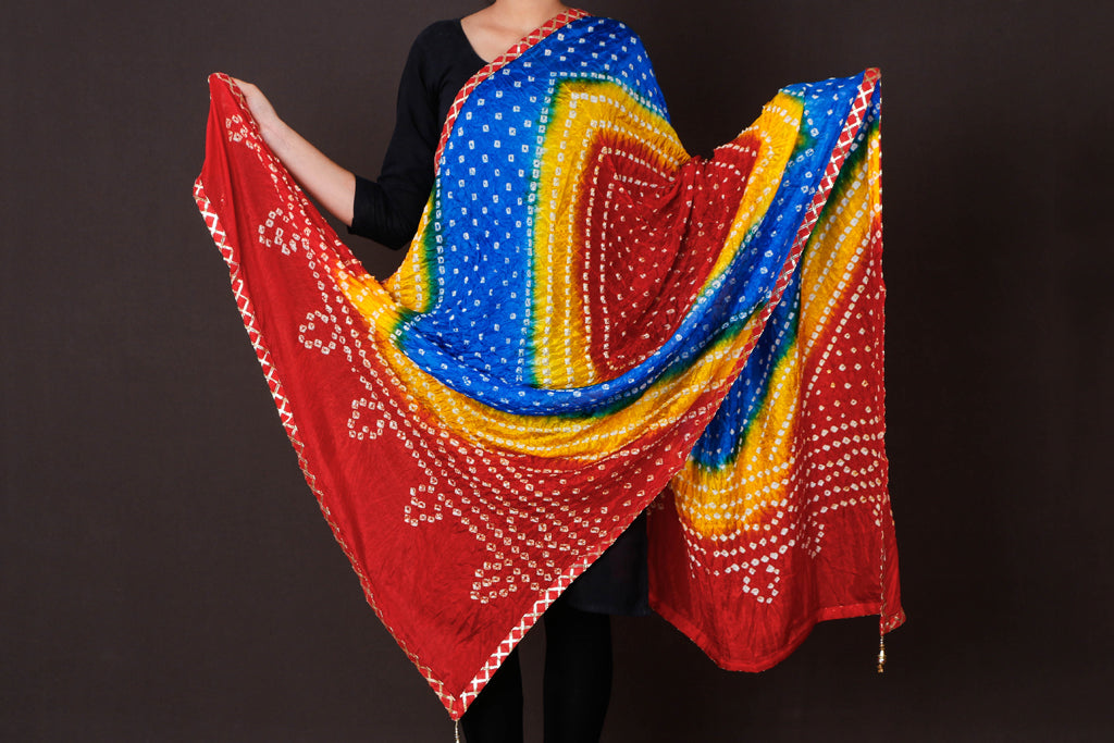 Jaipur Printed Bandhej Art Silk Dupatta with Gota Border & Latkans