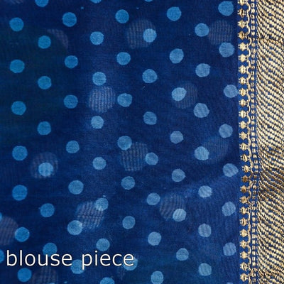 Bagru Hand Block Printed Maheshwari Silk Saree with Zari Border