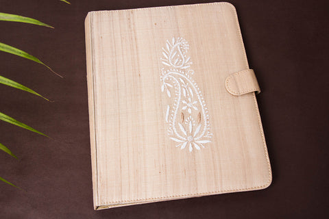 Lucknow Chikankari Hand Embroidered Tussar Silk File Folder
