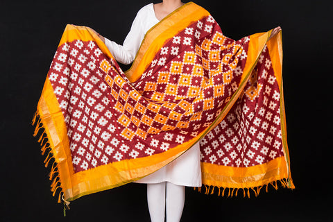 Special Hand Spun Pochampally Double Ikat Pure Silk Dupatta with Zari