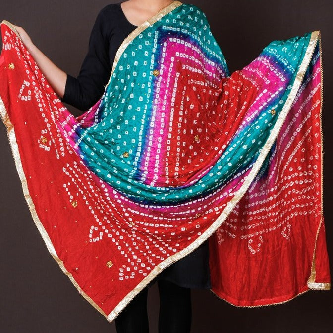 Jaipur Printed Bandhej Art Silk Stone Work Dupatta with Gota Patti