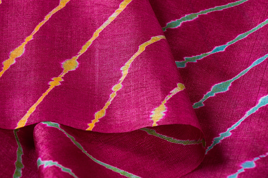 Original Leheria Tie-Dye Pure Tussar Silk Fabric by Badshah Miyan