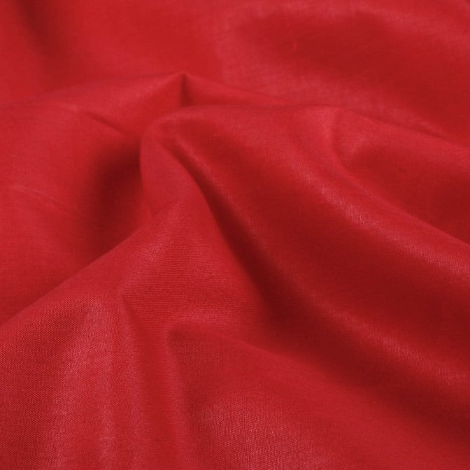 Red - Organic Handspun Handwoven Pure Mulberry Silk Cotton Fabric