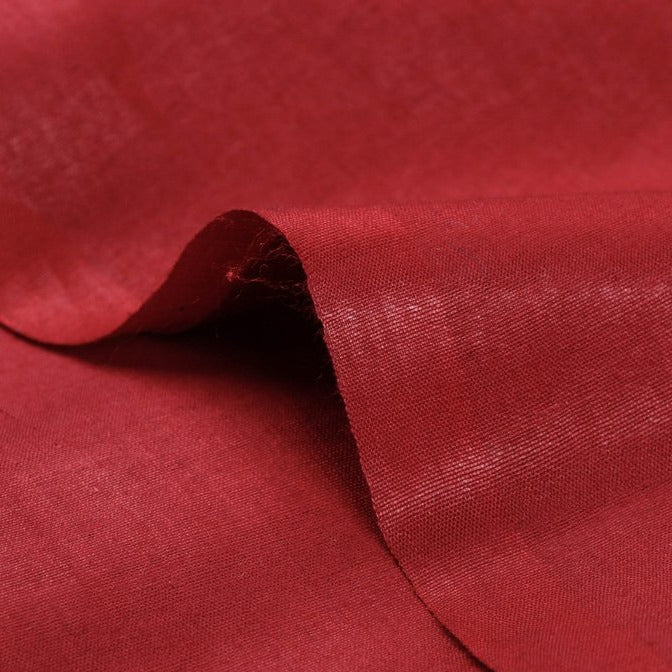 Cherry Red - Organic Handspun Handwoven Pure Mulberry Silk Cotton Fabric