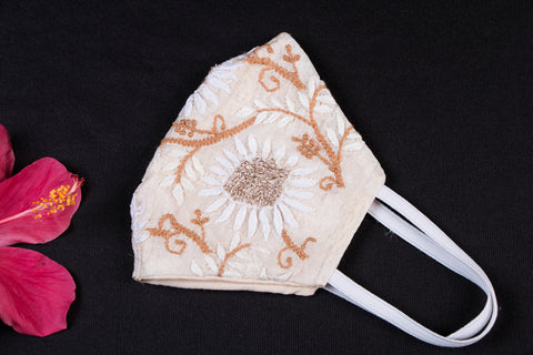 Special Chikankari & Zardozi Hand Embroidered Snug Fit Face Mask