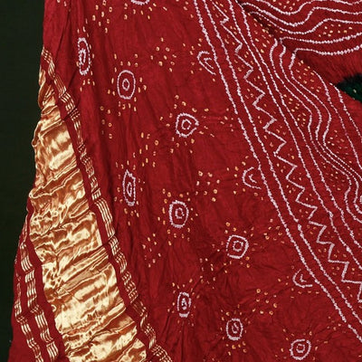 Traditional Kutchhi Bandhani Tie-Dye Gajji Silk Dupatta with Zari Border