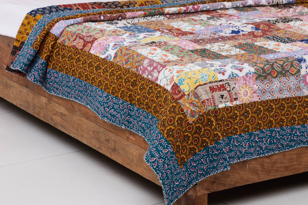 Reversible Ajrakh Print Patch & Tagai Work Cotton Quilt / Gudri / Blanket (90 x 60 in)