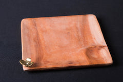 Hand Carved Dokra Natural Mahogany Wooden Square Tray (Big)