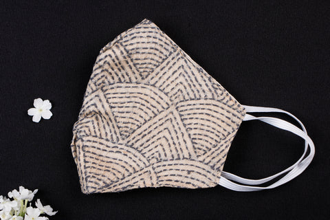 Snug Fit Bengal Kantha Embroidery Pure Tussar Silk Fabric Face Mask