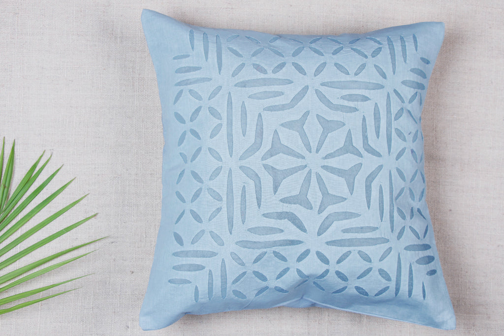 Applique Cut Work Cotton Cushion Cover