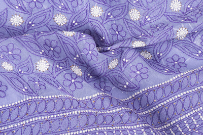 Lucknow Mukaish Chikankari Hand Embroidered Pure Cotton Kurta Material