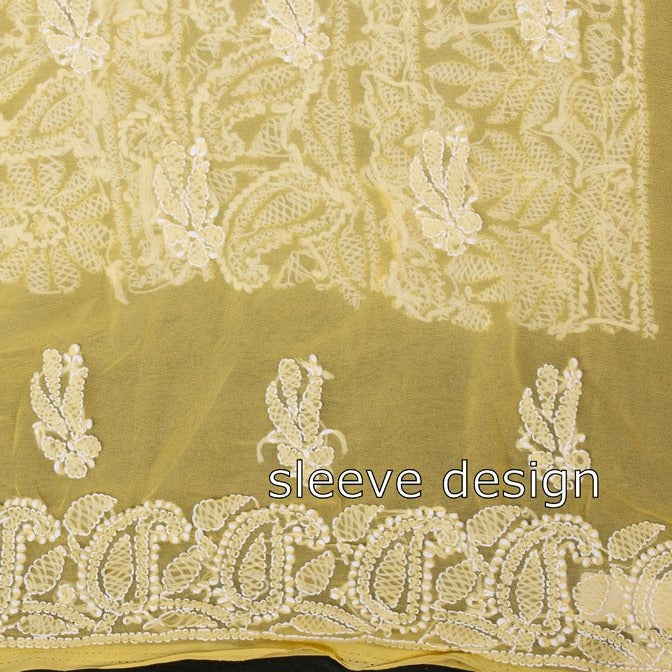 Chikankari Hand Embroidered Georgette 3pc Suit Material Set