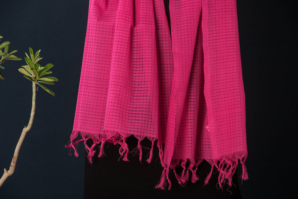 Handloom Mangalgiri Cotton Missing Weave Stole with Tassels by DAMA
