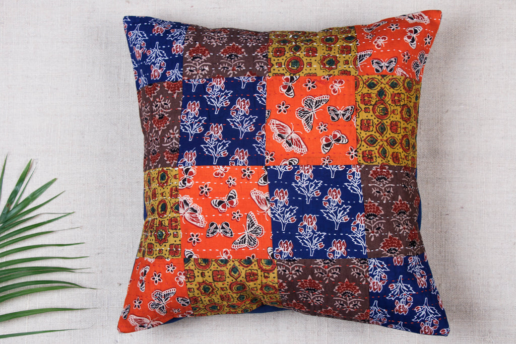 Kantha & Ajrakh Patch Work Cotton Cushion Cover