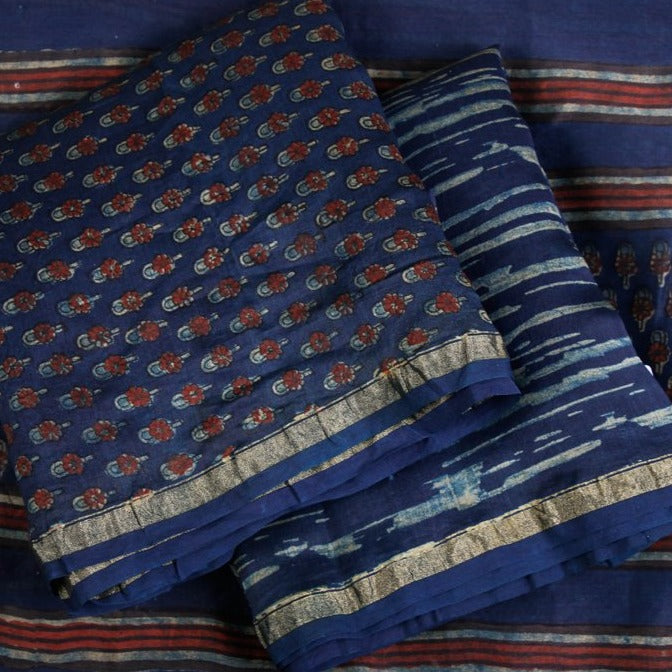 Special Akola Print Pure Handloom Chanderi Silk 3pc Suit Material Set
