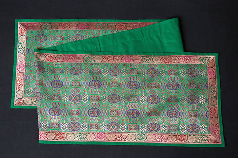 Traditional Pure Banarasi Handwoven Silk Zari Table Runner (72in x 13in)