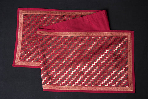Traditional Pure Banarasi Handwoven Silk Zari Table Runner (55in x 12in)