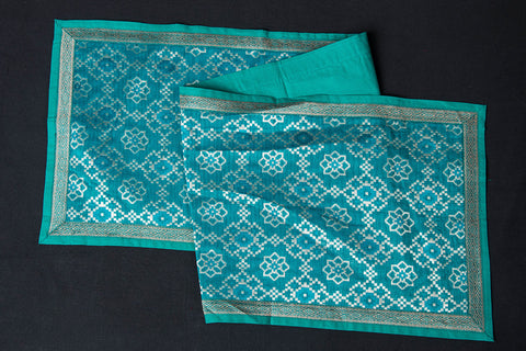 Traditional Pure Banarasi Handwoven Silk Zari Table Runner (45in x 12in)