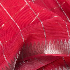 Original Mangalgiri Handloom Silk Cotton Checks Fabric with Silver Zari Border