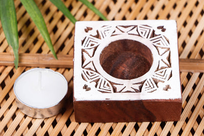 Hand Carved Sheesham Wood Block Tealight Candle Holder