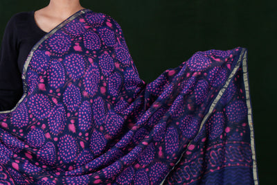 Hand Block Printed Chanderi Silk Dupatta with Zari Border