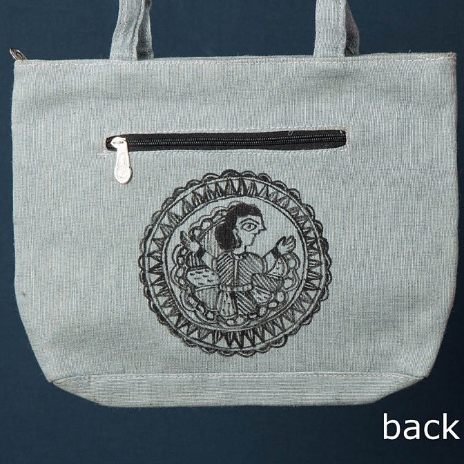 Madhubani Handpainted Jute Cotton Shoulder Bag