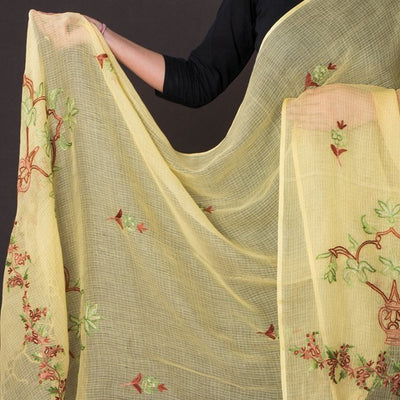 Kashidakari Hand Embroidery Kota Silk Dupatta with Zari Border